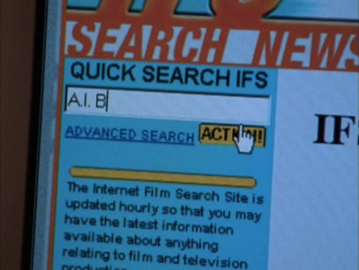 "Screenshot of computer with ""Internet Film Search Site"" complete with plain-text blue hyperlink to ""ADVANCED SEARCH""."