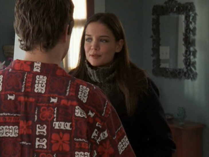 Joey in her foyer, facing Pacey, with her turtleneck unrolled